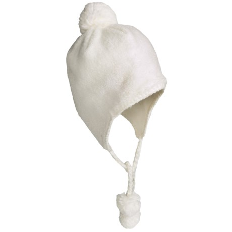 White Sierra Cozy Flap Beanie Hat - Fleece (For Women) in Cloud