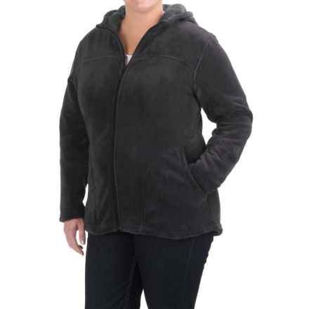White Sierra Cozy Fleece Hooded Jacket (For Plus Size Women) in Black - Closeouts