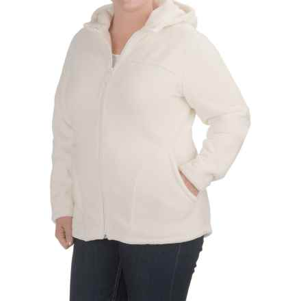 White Sierra Cozy Fleece Hooded Jacket (For Plus Size Women) in Cloud - Closeouts
