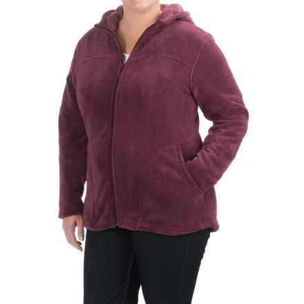 White Sierra Cozy Fleece Hooded Jacket (For Plus Size Women) in Crushed Grape - Closeouts