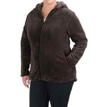 White Sierra Cozy Fleece Hooded Jacket (For Plus Size Women) in Mole - Closeouts