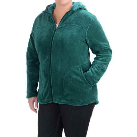 White Sierra Cozy Fleece Hooded Jacket (For Plus Size Women) in Pacific - Closeouts