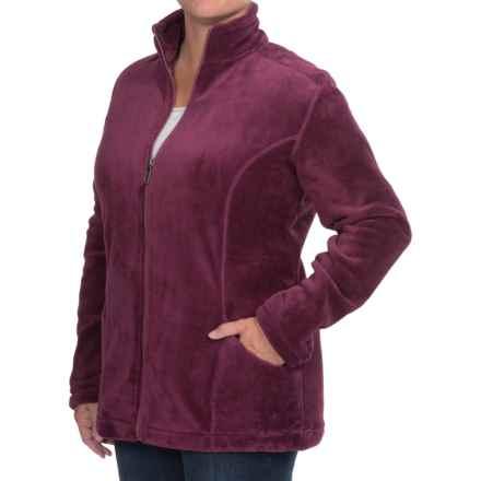 White Sierra Cozy Fleece Jacket (For Plus Size Women) in Crushed Grape - Closeouts
