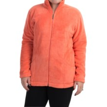 White Sierra Cozy Fleece Jacket (For Plus Size Women) in Dark Coral - Closeouts