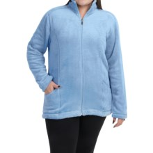 White Sierra Cozy Fleece Jacket (For Plus Size Women) in Powder Blue - Closeouts