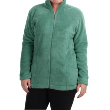 White Sierra Cozy Fleece Jacket (For Plus Size Women) in Shasta Green - Closeouts