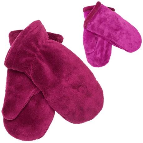 White Sierra Cozy Fleece Mittens - Reversible (For Women) in Beet Red