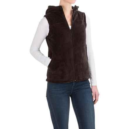 White Sierra Cozy Fleece Vest - Hooded (For Women) in Mole - Closeouts