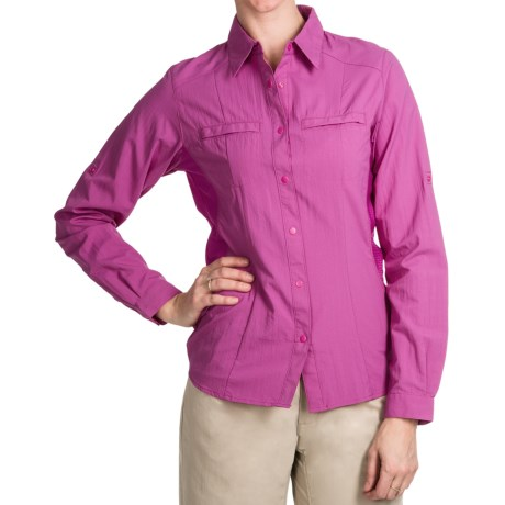 White Sierra Crestview Shirt - UPF 30, Long Roll-Up Sleeve (For Women) in Rose Violet
