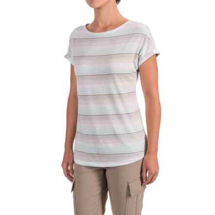 White Sierra Day Tour Striped T-Shirt - Cotton-Modal, Short Sleeve (For Women) in Icy Morn - Closeouts
