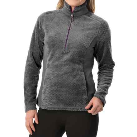 White Sierra Diamond Fleece Jacket - Zip Neck (For Women) in Asphalt - Closeouts