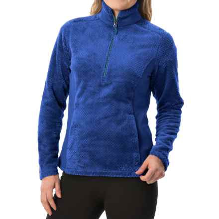 White Sierra Diamond Fleece Jacket - Zip Neck (For Women) in Ice Blue - Closeouts