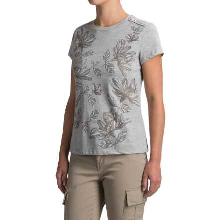 White Sierra Floral T-Shirt - Short Sleeve (For Women) in Heather Gray - Closeouts