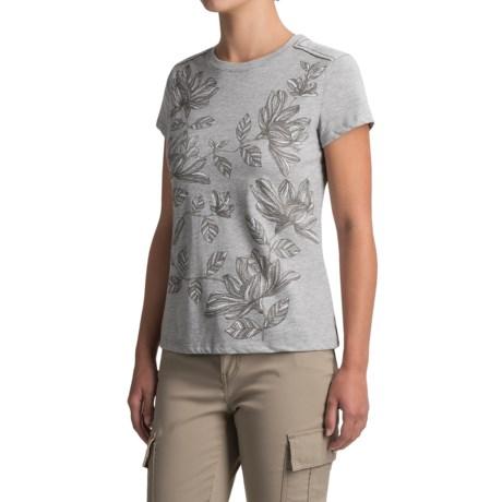 White Sierra Floral T-Shirt - Short Sleeve (For Women) in Heather Gray