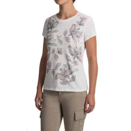 White Sierra Floral T-Shirt - Short Sleeve (For Women) in Snow White - Closeouts