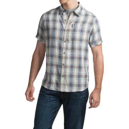 White Sierra Flynn Plaid Shirt - Organic Cotton-Hemp, Short Sleeve (For Men) in Vintage Indigo - Closeouts