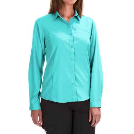 White Sierra Gobi Desert Shirt - UPF 30, Convertible Long Sleeve (For Plus Size Women) in Blue Radiance - Closeouts