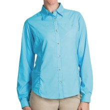 White Sierra Gobi Desert Shirt - UPF 30, Convertible Long Sleeve (For Plus Size Women) in Bluefish - Closeouts