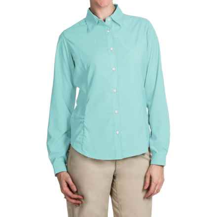 White Sierra Gobi Desert Shirt - UPF 30, Convertible Long Sleeve (For Plus Size Women) in Clearwater - Closeouts
