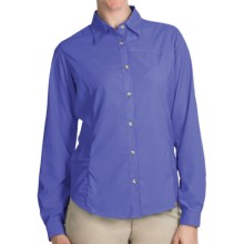 White Sierra Gobi Desert Shirt - UPF 30, Convertible Long Sleeve (For Plus Size Women) in Dark Violet - Closeouts