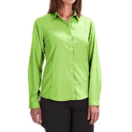 White Sierra Gobi Desert Shirt - UPF 30, Convertible Long Sleeve (For Plus Size Women) in Greenery - Closeouts