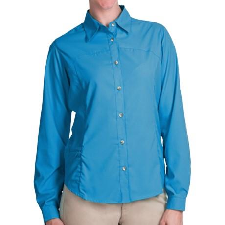 White Sierra Gobi Desert Shirt - UPF 30, Convertible Long Sleeve (For Plus Size Women) in Horion Blue