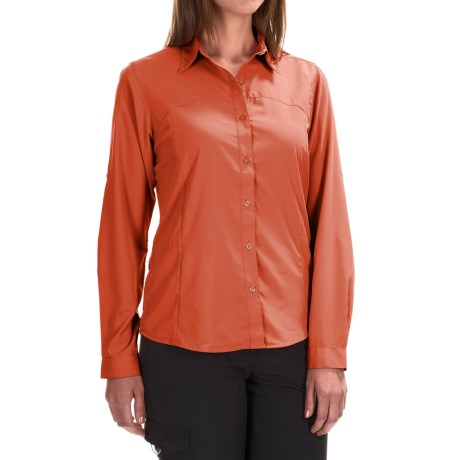 White Sierra Gobi Desert Shirt - UPF 30, Convertible Long Sleeve (For Plus Size Women) in Nasturium