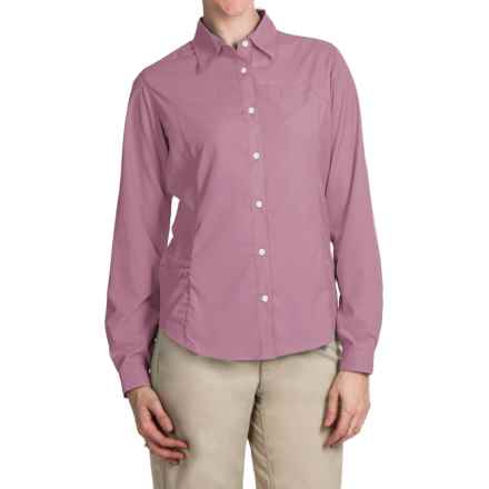 White Sierra Gobi Desert Shirt - UPF 30, Convertible Long Sleeve (For Plus Size Women) in Orchid Haze - Closeouts