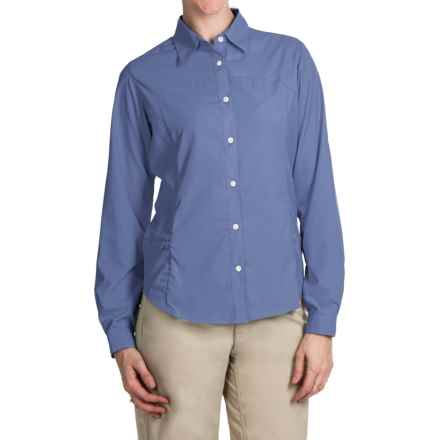 White Sierra Gobi Desert Shirt - UPF 30, Convertible Long Sleeve (For Plus Size Women) in Periblue - Closeouts