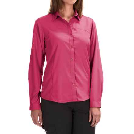 White Sierra Gobi Desert Shirt - UPF 30, Convertible Long Sleeve (For Plus Size Women) in Raspberry - Closeouts