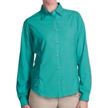White Sierra Gobi Desert Shirt - UPF 30, Convertible Long Sleeve (For Plus Size Women) in Vivid Green - Closeouts