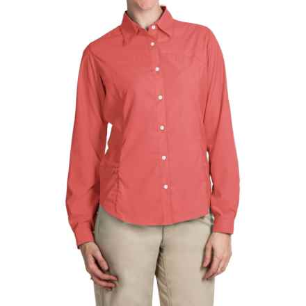 White Sierra Gobi Desert Shirt - UPF 30, Convertible Long Sleeve (For Plus Size Women) in Watermelon - Closeouts