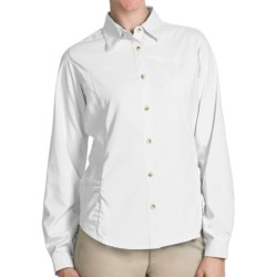 White Sierra Gobi Desert Shirt - UPF 30, Convertible Long Sleeve (For Plus Size Women) in Horion Blue