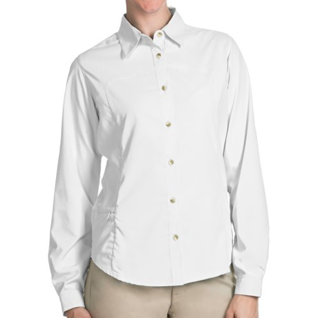 White Sierra Gobi Desert Shirt - UPF 30, Convertible Long Sleeve (For Plus Size Women) in Horizon Blue