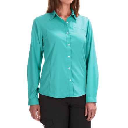 White Sierra Gobi Desert Shirt - UPF 30, Convertible Long Sleeve (For Women) in Blue Radiance - Closeouts