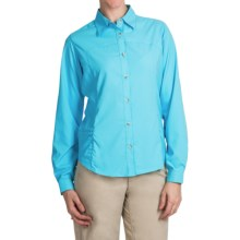 White Sierra Gobi Desert Shirt - UPF 30, Convertible Long Sleeve (For Women) in Bluefish - Closeouts