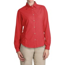 White Sierra Gobi Desert Shirt - UPF 30, Convertible Long Sleeve (For Women) in Hibiscus - Closeouts