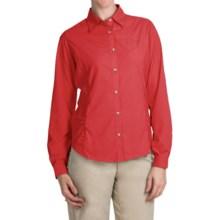 White Sierra Gobi Desert Shirt - UPF 30, Convertible Long Sleeve (For Women) in Hibiscus - Closeouts