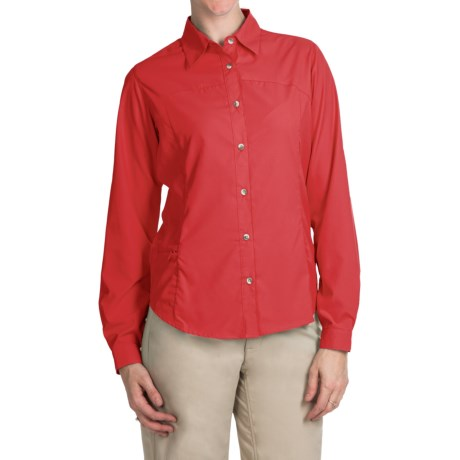 White Sierra Gobi Desert Shirt - UPF 30, Convertible Long Sleeve (For Women) in Hibiscus
