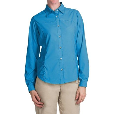 White Sierra Gobi Desert Shirt - UPF 30, Convertible Long Sleeve (For Women) in Horion Blue