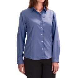 White Sierra Gobi Desert Shirt - UPF 30, Convertible Long Sleeve (For Women) in Periblue