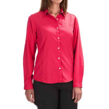 White Sierra Gobi Desert Shirt - UPF 30, Convertible Long Sleeve (For Women) in Raspberry - Closeouts