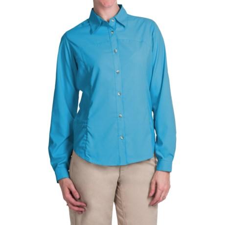 White Sierra Gobi Desert Shirt - UPF 30, Convertible Long Sleeve (For Women) in Sail Blue