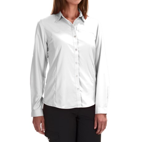 White Sierra Gobi Desert Shirt - UPF 30, Convertible Long Sleeve (For Women) in White