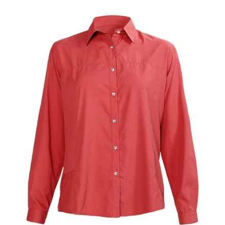 White Sierra Gobi Desert Shirt - UPF 30, Long Sleeve (For Women) in Lipstick - Closeouts