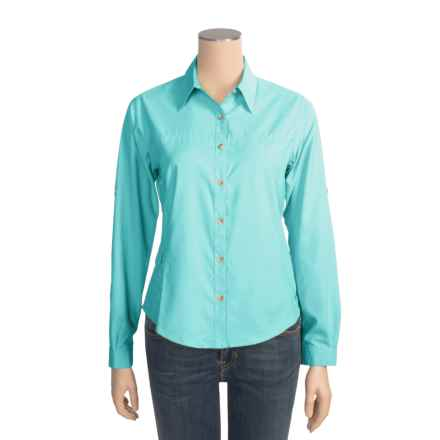 White Sierra Gobi Desert Shirt - UPF 30, Long Sleeve (For Women) in Turquoise - Closeouts