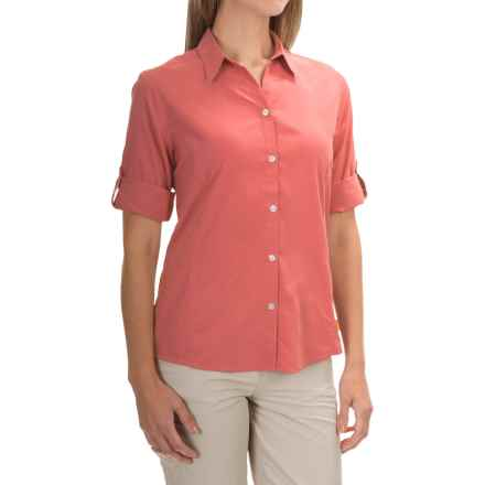 White Sierra Gobi Desert Shirt - UPF 30+, 3/4 Sleeve (For Women) in Watermelon - Closeouts