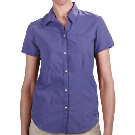 White Sierra Gobi Desert Shirt - UPF 30, Short Sleeve (For Women) in Purple Rain