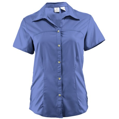 White Sierra Gobi Desert Shirt - UPF 30, Short Sleeve (For Women) in Purple Rain