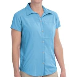 White Sierra Gobi Desert Shirt - UPF 30, Short Sleeve (For Women) in Sail Blue